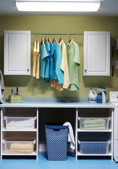 Equip your laundry room with a spacious folding table, more storage space, better lighting and a durable floor in one weekend.