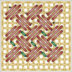 BBBB The Criss Cross Hungarian Stitch is a textured filling stitched worked in rows of diagonal stitches, with each row facing the opposite direction. A second color of stitching is used in the resulting spaces between the rows. This is the perfect area to use a specialty thread such as a metallic, or to add a seed bead. This needlepoint stitch is an excellent filling stitch.