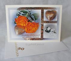 """Karte zur golden Hochzeit """"Herz"""" von PHOTOGLÜCK auf DaWanda.com"""