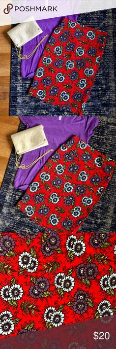 Floral Lularoe Cassie Practically new Lularoe Cassie. Only wore a few times. Red color is a true red, with purple and light blue flowers. LuLaRoe Skirts Pencil