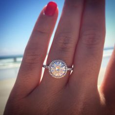 A.Jaffe Diamond Halo Engagement Ring