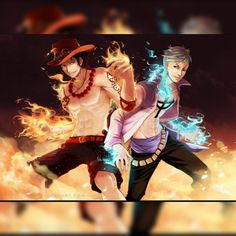 The Whitebeard 1st and 2nd commander Marco The Phoenix and The Fire Fist Ace!! I miss them both! #OnePiece #Manga #Anime