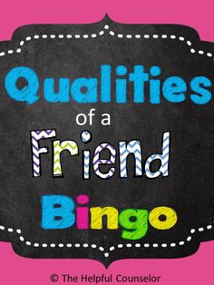Help your students develop better friendships by teaching them the qualities of a true friend. Use the Qualities of a Friend Bingo Game to build a positive classroom/school climate, prevent bullying, and reduce relational aggression. Check out the previ Coping Skills Activities, Social Skills Activities, Counseling Activities, Group Counseling, Autism Activities, Group Activities, Elementary School Counseling, School Social Work, School Counselor