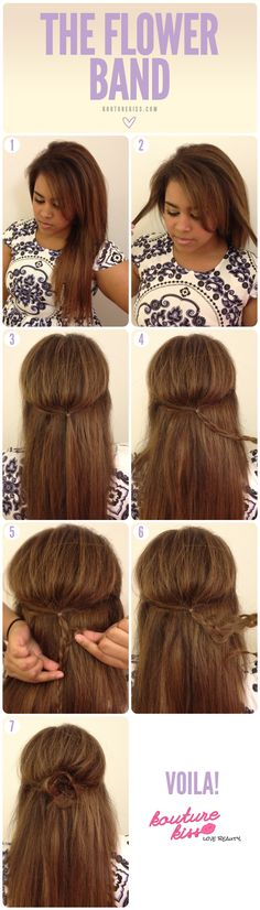 The Flower Band - Steps 1 & 2 – Starting with your hair down, take two sections of hair from the front of your face frame.  Step 3 – Secure the two pieces in the back center of your head with a small elastic.  Step 4 - Braid the pieces together and secure with another elastic.  Steps 5 & 6 - Using your pointer finger and your thumb, gently tug on sections of the braid until you have little loops (petals).  Step 7 - Wrap your braid into a circular shape and secure it in place with bobby pins