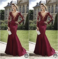 Free shipping, $151.84/Piece:buy wholesale 2015 Celebrity Gowns Zuhair Murad Burgundy Evening Dresses Lace Appliqued Mermaid Sheer Long Sleeves Sexy V-Neck Formal Dress2015 Fall Winter,Reference Images,Organza on ballybridalgown's Store from DHgate.com, get worldwide delivery and buyer protection service.
