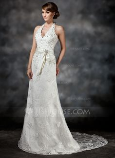 Wedding Dresses - $194.99 - A-Line/Princess Halter Court Train Satin Lace Wedding Dress With Sash Beading Sequins (002011503) http://jjshouse.com/A-Line-Princess-Halter-Court-Train-Satin-Lace-Wedding-Dress-With-Sash-Beading-Sequins-002011503-g11503