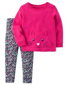 Carter's Toddler Girls Cat Pocket Leggings Set - September 21 2019 at Toddler Girl Style, Toddler Girl Outfits, Toddler Fashion, Kids Fashion, Toddler Girls, Girls 4, Toddler Hair, Fashion Fashion, Baby Outfits