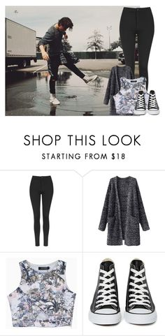 """Dancing in the rain with Nash"" by thenamessabrina ❤ liked on Polyvore featuring Topshop, Converse, women's clothing, women, female, woman, misses and juniors"