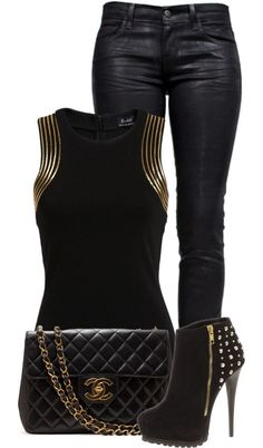 Gold and Black Night Out Outfit Idea