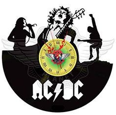 www.vinylplanetart.com VINYL PLANET WALL CLOCK AC/DC