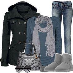 A very basic winter look. Love the combination. #WinterWear #FallFashion