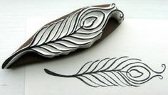 Peacock feather stamp by lemonadesun Clay Stamps, Stamp Printing, Screen Printing, Homemade Stamps, Stamp Carving, Fabric Stamping, Sgraffito, Fabric Painting, Stencils