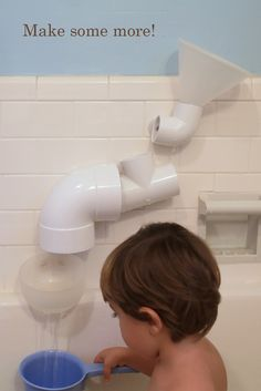 DIY Hardware Store Bath Toys by thebroodinghen:  Take various PVC pieces, drill holes, insert suction cups, hours of play!