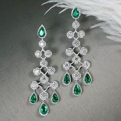 Emerald and Diamond Earrings ~ Prima Gems