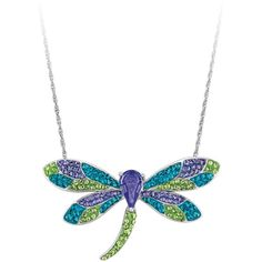 Multi-Colored Bellarosa Crystal Dragonfly Pendant in Sterling Silver ($95) ❤ liked on Polyvore featuring jewelry, pendants, necklaces, white, dragonfly pendant, long pendant, sterling silver dragonfly pendant, sterling silver crystal pendant and charm pendants