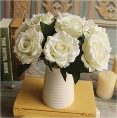 GNW FL-RS22-9CM Artificial flower bunch White Silk Rose buds Imported from China