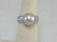 White Pearl Silver Ring Lacy Silver Ring with by rarefindjewelry, $85.00
