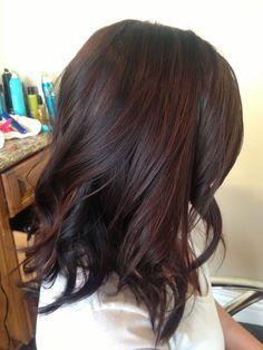 59 ideas hair color red highlights balayage curls for 2019 Red Highlights In Brown Hair, Red Brown Hair, Brown Hair Colors, Dark Brown, Color Highlights, Brown Blonde, Brown Lob, Reddish Brown, Red Peekaboo Highlights