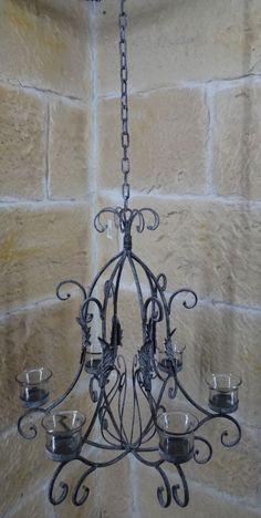 Details Zu Kronleuchter Landhaus Decken Hänge Leuchter Vintage Antik Shabby  8 Eisen Kerzen