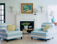 Coastal blue, lime and white. Imperial trellis cushions! House Beautiful
