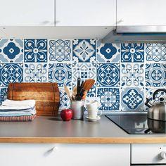 kitchen Tiles Stickers - Greyscale Tile Decals Tile Stickers Set for Kitchen and Bathroom PACK OF Blue Moroccan Tile, Moroccan Tiles Kitchen, Moroccan Tile Backsplash, Layout Design, Design Ideas, Tile Stickers Kitchen, Turquoise Wallpaper, Traditional Tile, Tile Decals