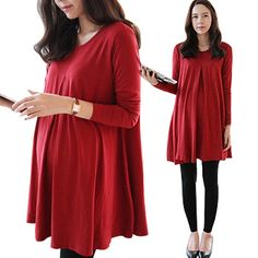 maternity dresses for baby showers korean maternity clothes red wholesale loose long shirt fall loose plus size casual pregnant on Aliexpres...