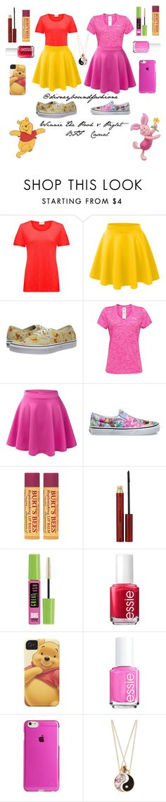 """Winnie The Pooh & Piglet-BFF Casual"" by disneybound-fashion ❤ liked on Polyvore featuring American Vintage, LE3NO, Vans, Under Armour, Burt's Bees, Kevyn Aucoin, Maybelline, Essie, Agent 18 and Accessorize"