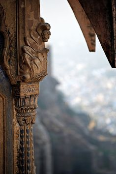 Fine masonry that looks like wood, but is painted stone.  Mehrangarh Fort in Jodhpur, India.