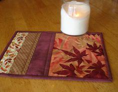 Autumn Leaves Mug Rug Table Mat by NeedleLove2 on Etsy, $10.00