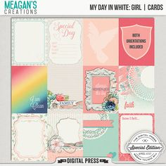 My Day in White Girl Cards by Meagan's Creations -a set of twenty four journal cards, of twelve different designs two orientations.
