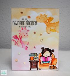 Favorite stories | MFT #mftstamps #magicaldragons #ourstory #book #fantasy #reading #distressink #zigcleancolorrealbrush #clouds #fairytale #crafty #handmade #cardmaking #coloring #lbcardcreations #stempelwunderwelt
