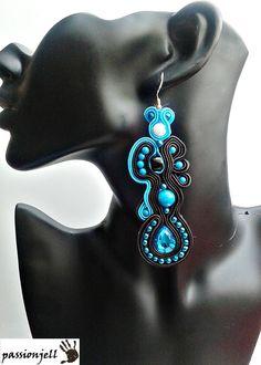 Soutache Blue Zircon Earrings