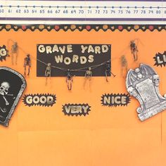 """Start of my """"grave yard words"""" bulletin board. Along the same idea as """"dead verbs"""" they're words my students can't use in their writing!"""