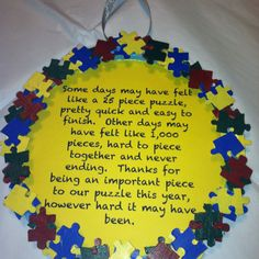 Autism frames with a little story I made up. These are what I gave out as end of the year teacher gifts, and super easy to make!