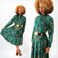 vintage 80s EMERALD green BAROQUE print dress size S  by PasseNouveauVintage, $29.00