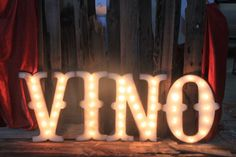 'Vino' Vintage Style Marquee Letters Wood (via Etsy) Marquee Letters, Marquee Lights, Carnival Lights, Flower Bar, Light Up Letters, Vintage Lettering, Signage Design, Vintage Fashion, Vintage Style