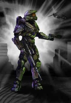 Halo 4 Master chief Color study by ~LordKaniche on deviantART Halo Game, Combat Armor, Halo 2, Judge Dredd, Bleach Anime, Color Studies, Best Games, Drawing Reference, Master Chief