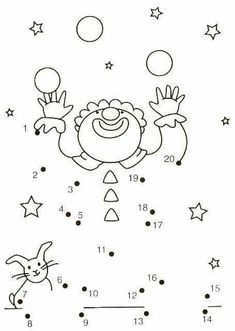 20 prikker, klovn by cassie Preschool Circus, Circus Crafts, Primary School, Pre School, Theme Carnaval, Connect The Dots, Circus Theme, Math For Kids, Kindergarten Math