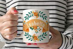 Mugs Personalized, Floral Mugs, Custom Name Mugs, Pretty Mug, Flower Mug, Mugs for Her, Mugs for Girls, Personalized Cups, Ceramic Mug P6711