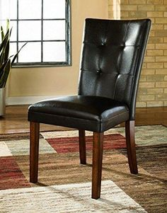 Ashley Furniture Signature Design Lacey Dining UPH Side Chair Medium Brown Finish Set of 2