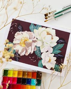 Watercolour Tutorials, Painting Tutorials, Sculpture Art, Sculptures, Gouache, Watercolor Paintings, Florals, Journaling, Roses