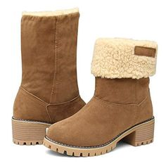 5881dd749fe EAST LANDER Women s Winter Short Boots Faux Suede Chunky Heel Booties –  Videos.Images.