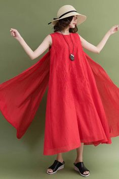 8aae6546d0ef Summer Red Ramie Sleeveless Casual Loose Fitting Long Dresses For Women Red  Fashion, Fashion Outfits