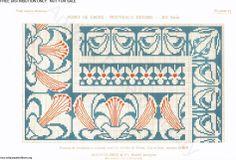D.M.C. Point de Croix Nouveaux Dessins 2me Série, page 19, c. 1905. More stunning art nouveau and Provençale charted cross-stitch designs. Borders and corners, blue and red
