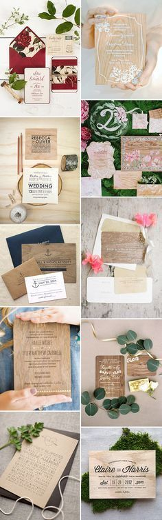 Wooden Wedding Invites - perfect for a rustic style wedding | www.onefabday.com