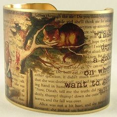 Cheshire Cat - Alice In Wonderland - English Literature Brass Quote Cuff Bracelet by JezebelCharms on Etsy https://www.etsy.com/listing/66332296/cheshire-cat-alice-in-wonderland-english