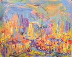 Abstract City Painting, in Blue and Yellow, Russ Potak by PotakPaintsArt on Etsy