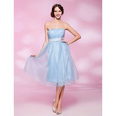A-line Strapless Knee-length Organza Cocktail Dress – USD $ 39.99