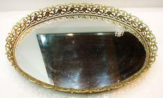 VTG Victorian Vanity Tray Oval Ormolu Gold Filigree Mirror Holywood Regency Art Of Glass, Vanity Tray, Gold Filigree, Yard Sale, Hollywood Regency, Victorian, Mirror, Pretty, Home Decor