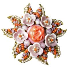 Vintage 1940s Signed Miriam Haskell Coral Glass & Faux Pearl Floral Pin 1